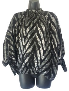 BCBGMAXAZRIA Top Black Silver