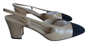Chanel Slingback Leather Beige Pumps
