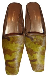 Sergio Rossi Pony Hair Camouflage Green Mules