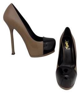 Saint Laurent Ysl Black Patent Brown Pumps
