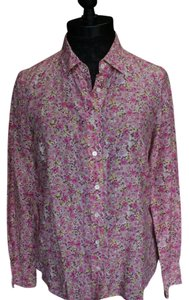J.Crew Floral Button Down Shirt Pink Combo