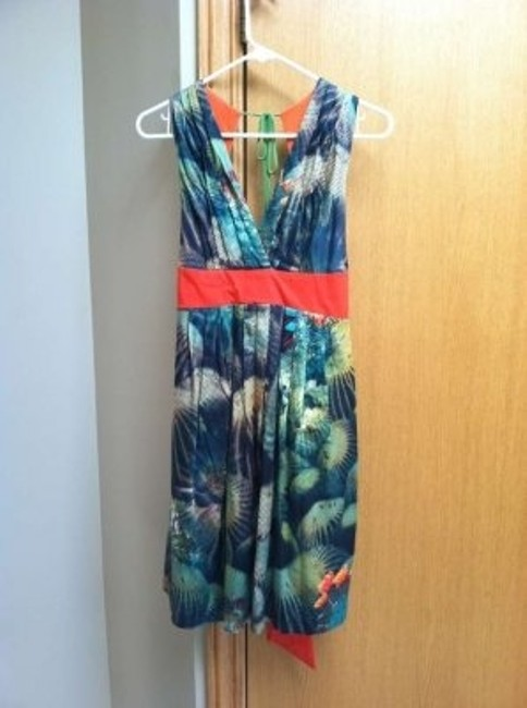 Anthropologie short dress Multicolored blues, green, orange on Tradesy