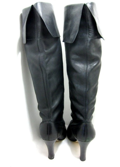 Steve Madden Leather Fold Down Winter Holiday black Boots