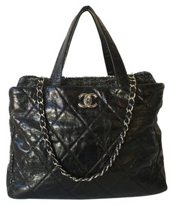 Chanel Calfskin Silver Tote in Black