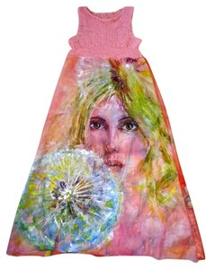 Violet Luck One Of A Kind Stunning Summer Hand Painted Signed Dress