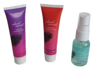 New Island Sunset Travel Sz Cleanser, Body Wash, Lotion, Dry Body Oil