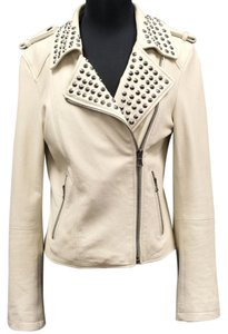 Forever 21 Studs Fashion Off White Leather Jacket