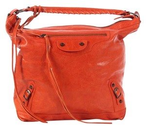 Balenciaga Bg.k0315.03 Orange Red Agneau Hobo Bag