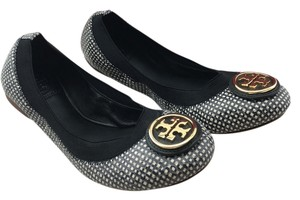 Tory Burch Caroline Reva Leather Black Flats