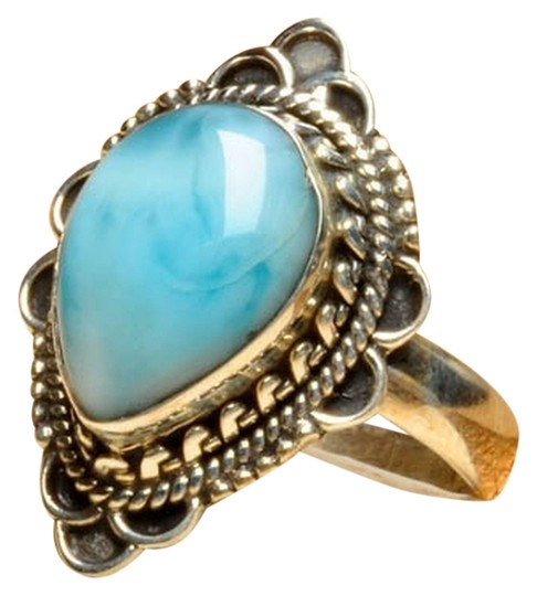 Other 925 STERLING SILVER DOMINICAN REPUBLIC LARIMAR RING SZ 6.75