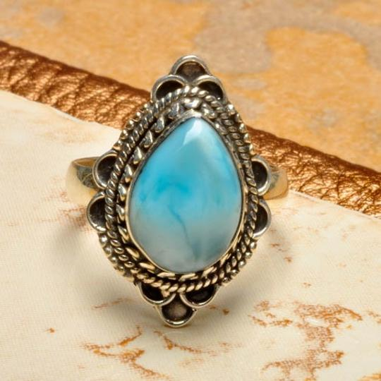 Other 925 STERLING SILVER DOMINICAN REPUBLIC LARIMAR RING SZ 6.75 Image 1