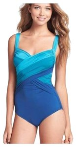 Badgley Mischka Tummy Control Slimming Bridgette Ombre Crossover Drapped Shirred Maillot Bathing Suit