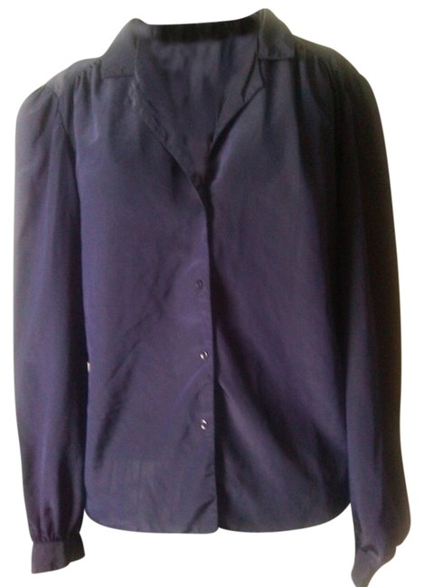 Other Career Casual Classic Preppy Boho Ladies Work Job Dark Blues 80s Fashion Fine Classy Polyester Sophisticated Ruched Poly Top navy blue