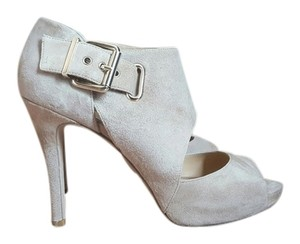 Nine West Nubuck Suede Heels Nude Tan Beige Sandals