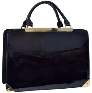 Other Faux Patent Zip Around Briefcase W/removable Strap Satchel in Black