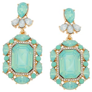 Other Emerald Cut Green Opal Rhinestone Crystal Earrings