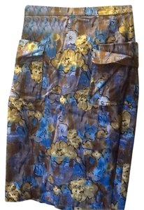 Tracy Reese Pencil Pockets Painterly Skirt Floral multi color
