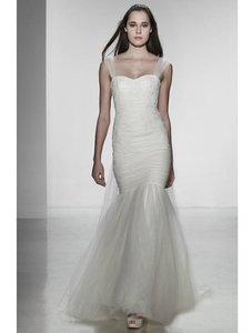 CHRISTOS Light Ivory French Alencon Lace and Tulle Adele Formal Wedding Dress Size 4 (S)