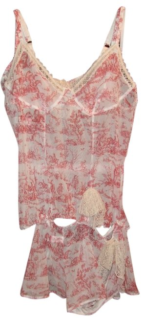 Item - Soft Red and White Lingerie Set with Toile De Jouy Pattern Made In France.
