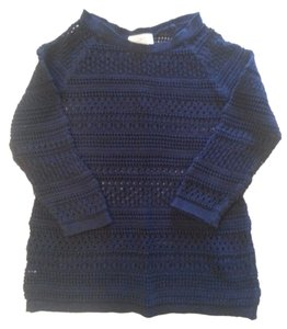 Ann Taylor LOFT Lacey Crocheted Navy Sweater