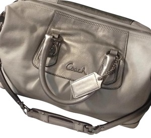 Coach Satchel in Silver & White