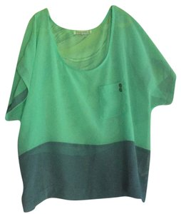 Lucca Couture Top Mint Green and Gray/Blue