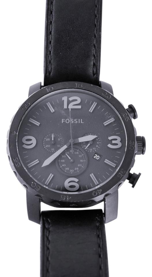 dee4a04a94a Fossil Black Men s Jr1401 Nate Stainless Steel with Link Bracelet Watch