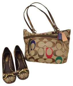 Coach Signature Fabric Suede Brass Buckle Khaki Brown and tan Wedges
