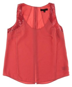 Sanctuary Clothing Sequin Embellished Sleeveless Lined Chic Top Coral
