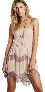 Free People short dress Slip Sheer Beaded Fringe on Tradesy
