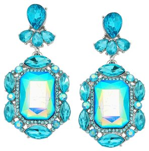 Other Emerald Cut Blue Aqua Rhinestone Crystal Earrings