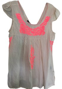 Angie Top Cream and neon pink
