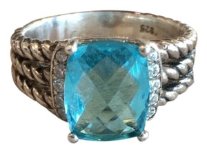 David Yurman David Yurman Size 7 Petite 'Wheaton' Ring Hampton Blue Topaz & Diamonds