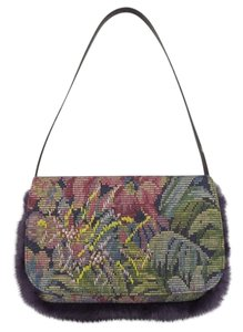 Etro Fur Embroidery Floral Paisley Purple Clutch
