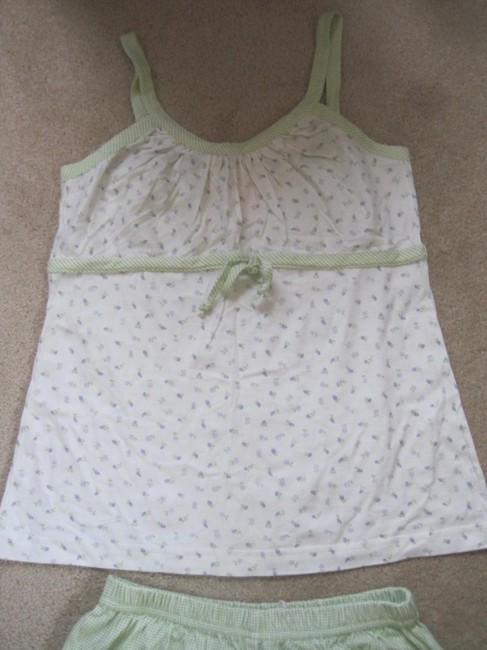 Chance Encounters Top White and Light Green with Tiny Flowers
