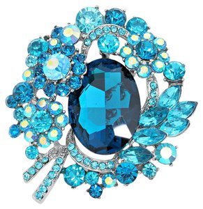 Aqua Blue Rhinestone Crystal AB Floral Leaf Bouquet Brooch Pin