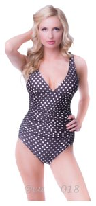 Classic Brown & White Polka Dot One Piece