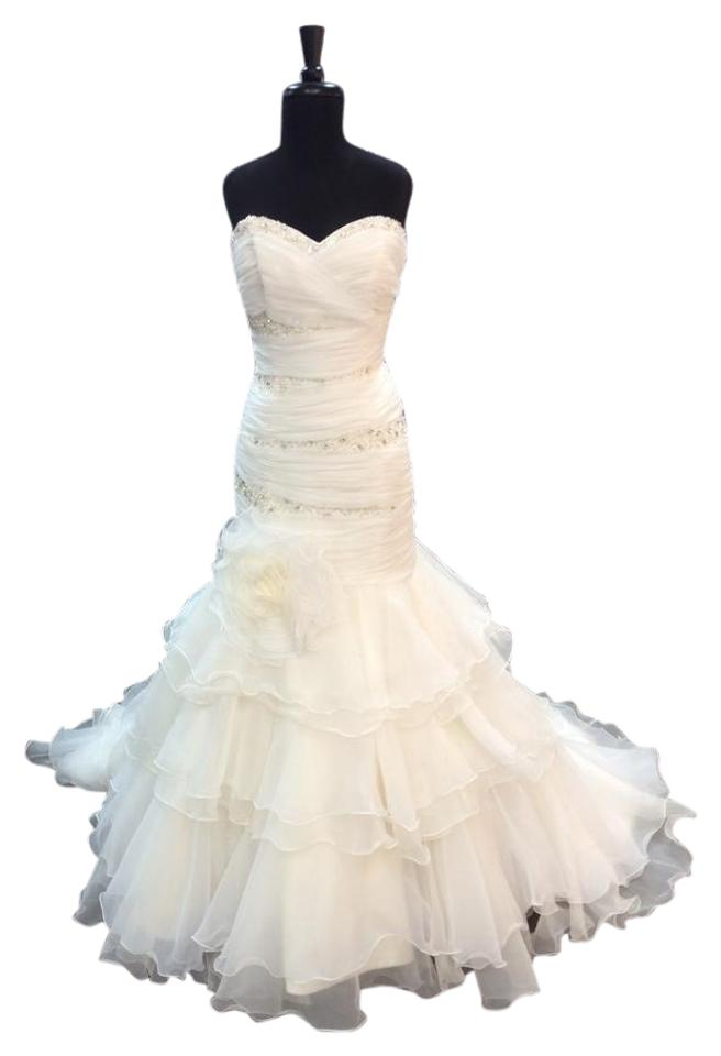 Mia Solano Ivory/Lt Gold Organza M1124l Modern Wedding Dress Size 10 ...
