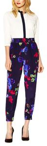 Tucker Silk Floral Ankle Capri/Cropped Pants Navy/Multi
