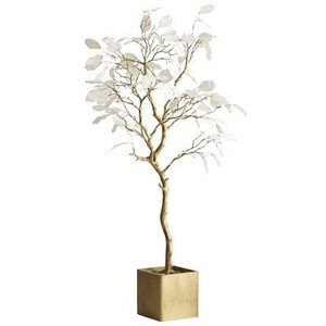 Pier 1 Imports White & Gold Faux Silver Dollar Tree Reception Decoration