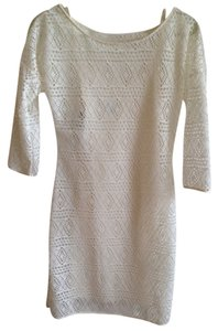 Express short dress White Crochet Slip Boatneck on Tradesy