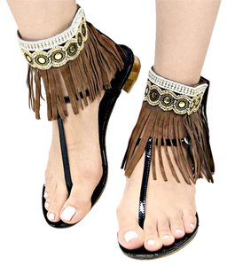 Boho Chic Barefoot Moccasins Tribal Ethnic Brown Suede Fringe Ankle Cuffs