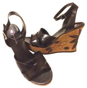 Bandolino Black Leather Ankle Strap Wedges