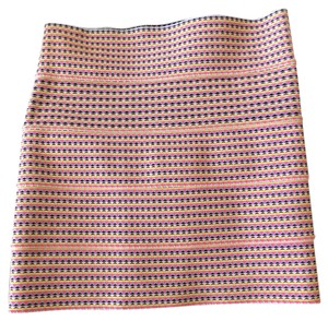 Pleasure Doing Business Mini Skirt Pink- yellow- blue- white