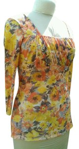 Daisy & Clover Floral Mesh Ruched Stretch Top JUST REDUCED! Now $10 Orange & Yellow tones