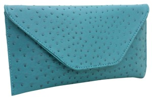 Other Ostrich Skin Print Ostrich Faux Blue Turquoise Clutch