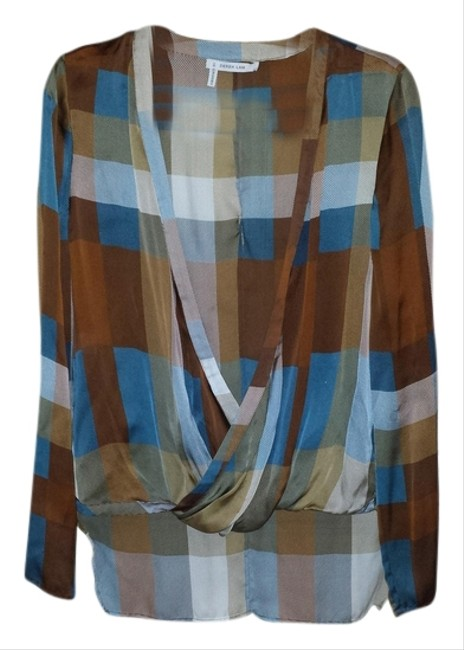 Preload https://item5.tradesy.com/images/derek-lam-brown-and-blue-blouse-size-8-m-1498549-0-0.jpg?width=400&height=650