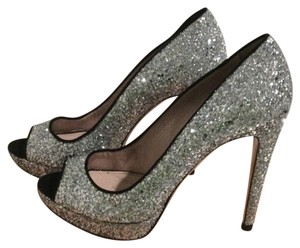 Miu Miu Metallic Silver Platforms Pewter Pumps