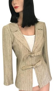 Bloomingdale's Earth Tone Summer Spring Travel Tan, Gold, Ivory, Brown Jacket