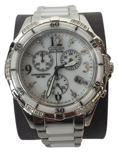 Citizen Citizen Eco-Drive Chronograph Diamond White Dial Stainless Steel Watch